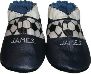 Soccer ball ribbon Crib Shoe with an optional embroidered name for a personalized shoe.