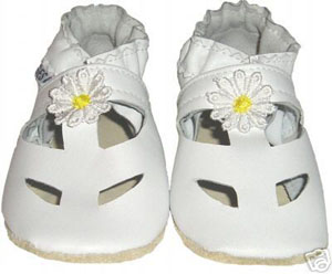 Solid White Sandal Crib Shoe