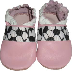 All Leather Pink Soccer  Crib Shoe