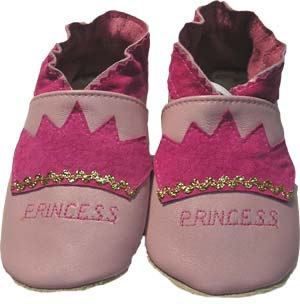 Pink Princess Leather Crib Shoe
