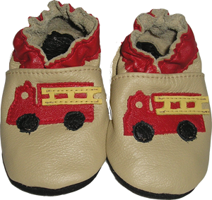 Tan Leather shoe with Red Fire Truck