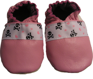 Pink Skull and Crossbones Crib Shoe