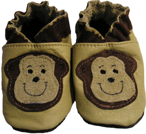 Tan shoe with two tone monkeys