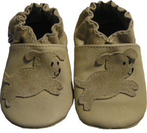 Tan shoe with tan leaping puppy, great neutral design.
