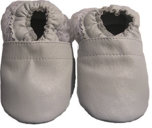 Classic White with lace ankle trim Crib Shoe