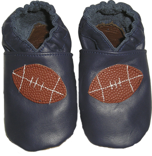 A sporty Blue shoe with a football made from genuine football leather.