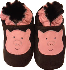 Pink Pig on Brown Crib Shoe