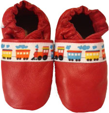 Fun whimsical train ribbon on a bright red shoe. Red not your favorite colour? We can switch to blue or black.