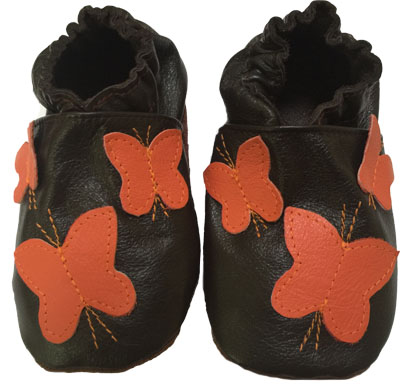 Brown with Orange Butterfly Crib Shoe