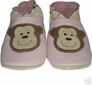 Light Pink Monkey Crib Shoe