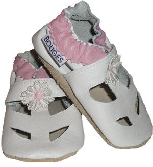 White Sandal with a pink daisy  Crib Shoe